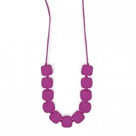 Collana da allattamento Modello Quadratini Rosso-Viola