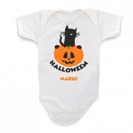 Body Bebè personalizzato Gatto Zucca Halloween