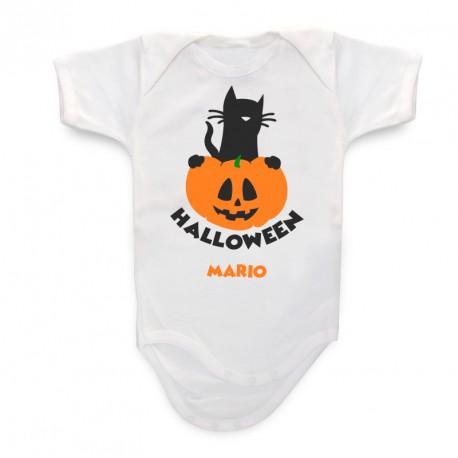 Body Bebé Personalizado Gato Calabaza Halloween