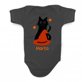 Body Bebé Personalizzato Gatto con Cappello Halloween