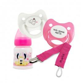 Pack Personalizzato Biberon Disney, Ciucci e Clip